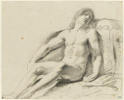 Homme nu, adossé contre un tombeau : étude pour un Christ mort (?)