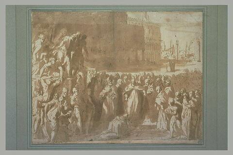 L'empereur Fréderic Barberousse agenouillé devant la pape Alexandre III