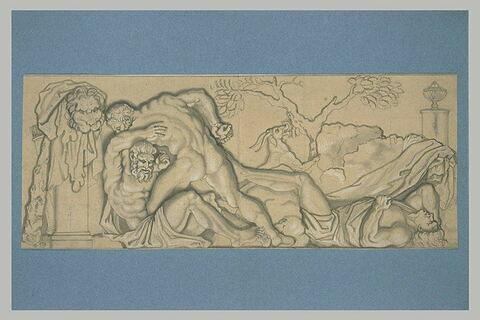 Hercule combattant avec Polygonos et Télégonos