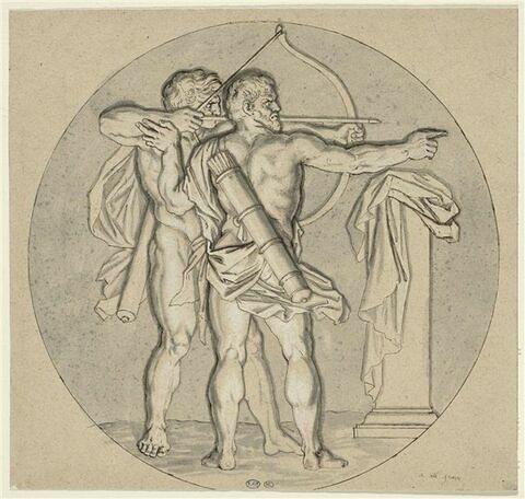 Hercule apprenant à tirer à l'arc avec Teutaros