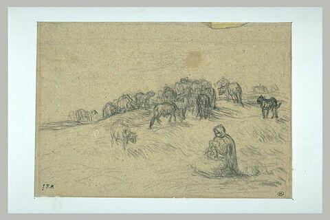 Bergère assise, gardant des moutons