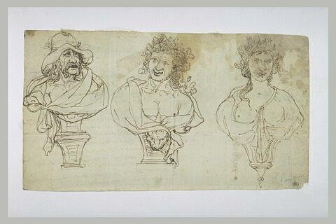 Trois bustes sculptés ; à gauche et au milieu : deux bustes d'hommes...