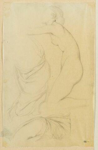 Jeune femme nue, de profil, agenouillée et études de draperie