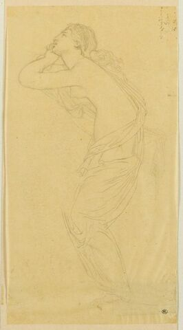 Jeune femme nue, de profil, à demi drapée