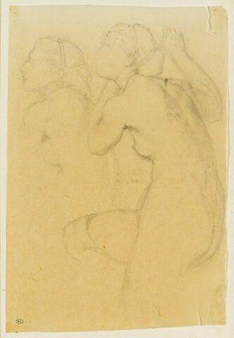 Deux torses d'une femme nue, tournés vers la gauche