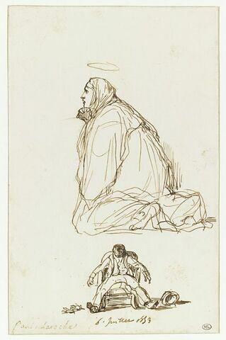 Vierge agenouillée et autoportrait caricatural.