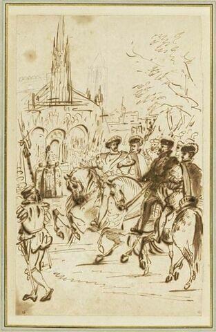 François Ier et Charles Quint arrivant à cheval devant l'abbaye de Saint-Denis (1540)