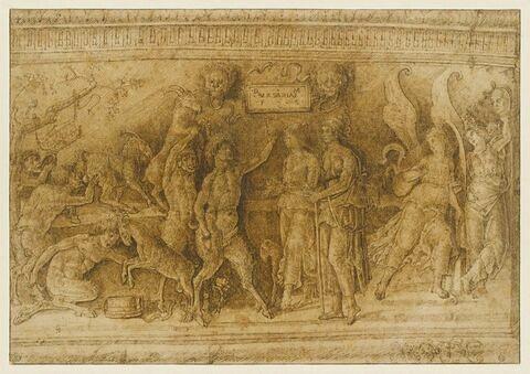 Bas-relief bachique de neuf figures, d'après l'antique