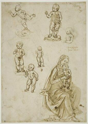 Putto sur un dauphin ; cinq études de l'Enfant Jésus ; la Vierge à l'Enfant