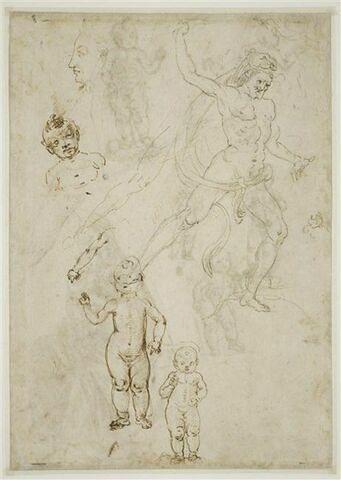 Tête d'homme de profil ; Hercule et deux reprises de sa jambes droite ; quatre études de l'Enfant Jésus