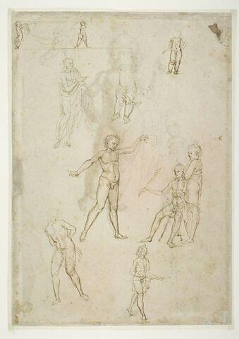 Relief d'un sarcophage avec deux putti portant une guirlande ; homme drapé à l'antique ; deux études d'un enfant débout ; scène avec trois hommes ; Christ aux liens ; homme à demi drapé, marchant ; jeune homme en prière