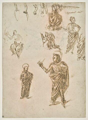 Trois études de bras ; jambes d'un enfant ; trois études d'un Couronnement de la Vierge (?) ; visage de profil ; quatre étude pour deux saints ; essais d'écriture