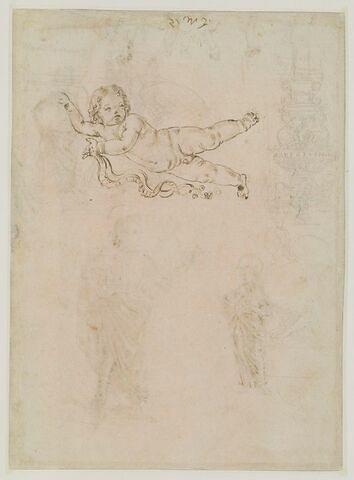 Etude d'enfant tenant une banderole ; esquisse d'un candélabre ; une harpie