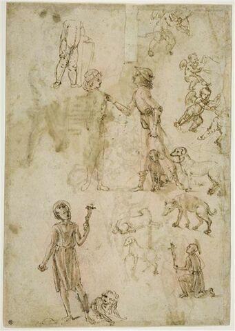 Putto tenant un écu ; un angelot musicien et d'autres soutenant une banderole ; deux hommes en habits modernes conversant dont un tenant des chiens en laisse ; chiens; deux saint Jérôme