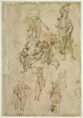 Putti musiciens; saint Jean-Baptiste; centaure marin emportant une nymphe; quatre études pour le jeune saint Jean-Baptiste; profil caricatural