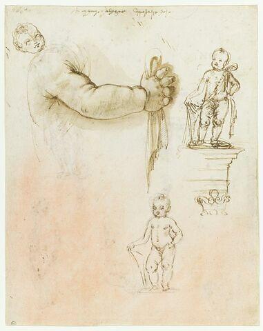 Tête et bras d'enfant ; deux études pour putti tenant un écu, debout sur un entablement