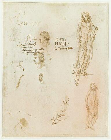 Trois études d'Apollon (?) ; trois têtes de profil d'après des médailles antiques ; deux études d'oreille ; enfant nu assis ; essais d'écriture
