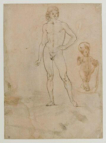 Jeune homme nu, debout ; Enfant Jésus ; tête inclinée vers la droite