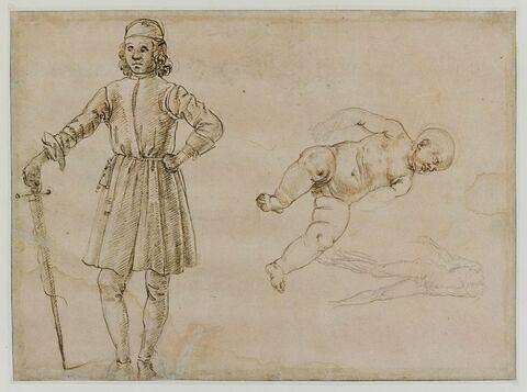 Enfant nu assis ; homme debout tenant une épée ; homme nu achéphale