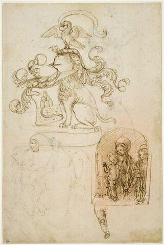 Targe à six monts et une rivière, supportée par un lion couard accroupi coiffé d'un heaume à lambrequins avec une aigle (?) eployée en cimier ; Vierge à l'Enfant et saint Jean (?), reprise de la jambe de l'Enfant ; esquisse d'un cheval