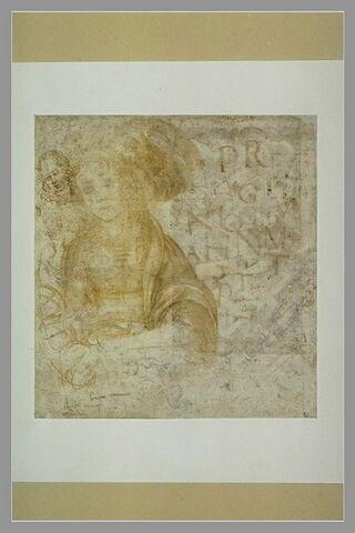 Vierge à l'Enfant en buste ; figures ; essais d'écriture