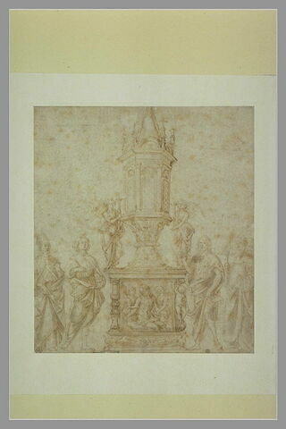 Reliquaire entre un saint évêque et un jeune martyr à gauche et saint Jean-Baptiste et saint Dominique à droite