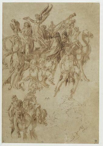 Triomphe de Bacchus et esquisse de centaure enlevant une nymphe