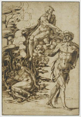 Caïn maudit par Dieu le Père pour le meurtre d'Abel