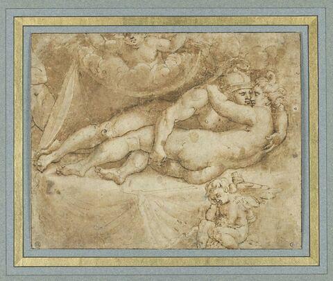 Mars et Vénus se tenant embrassés sur un lit