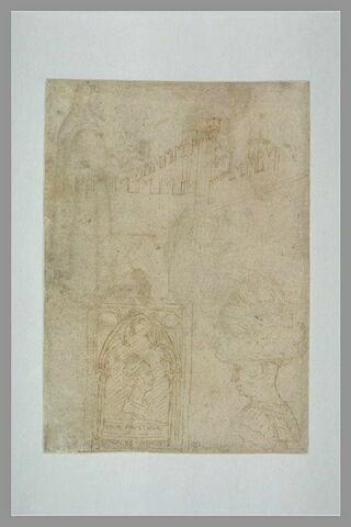Muraille ; portraits de G. Gonzaga et de Nicocolo III d'Este ; Faustine