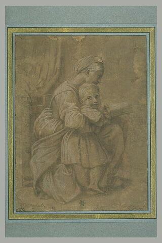 Femme assise, lisant, un enfant debout auprès d'elle
