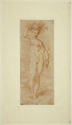 Femme nue, debout, portant une corbeille de fleurs sur la tête