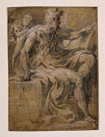 Philosophe assis, de profil vers la droite