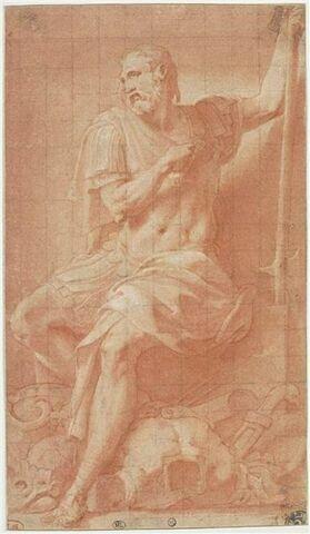 Ulysse assis avec un trophé d'armes à ses pieds