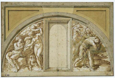 Etude pour une lunette avec à gauche: le 'Péché originel' ; à droite : 'Adam et Eve chassés du Paradis'