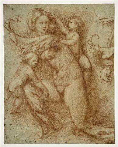 Figure de femme nue dont les pieds et les mains se terminent en feuilles d'ornements, accompagnée de deux putti