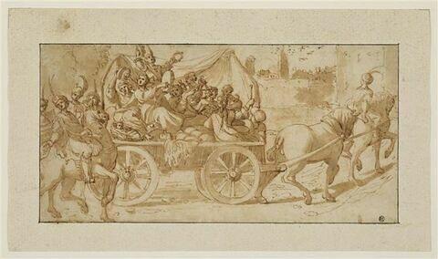 Groupe de musiciennes sur un chariot