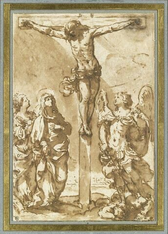 Christ en Croix, avec saint Michel, la Vierge et une sainte femme