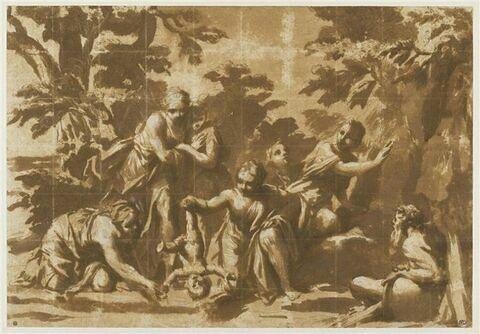 Thétis entourée des Titanides plongeant Achille dans le Styx