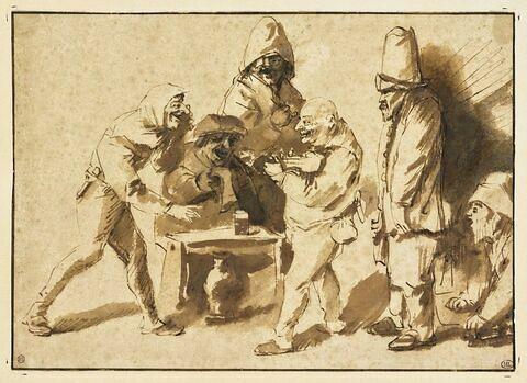 Six figures caricaturales attablées et buvant