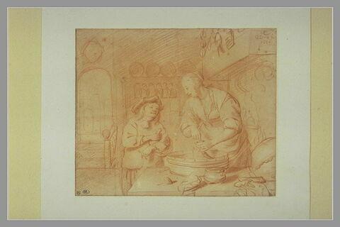 Cuisinière faisant du boudin, et discutant avec un jeune garçon