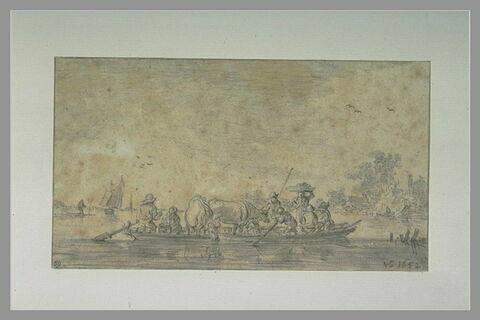 Paysans et animaux traversant une rivière dans un bac