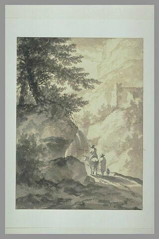 Deux personnages sur un chemin traversant un défilé montagneux