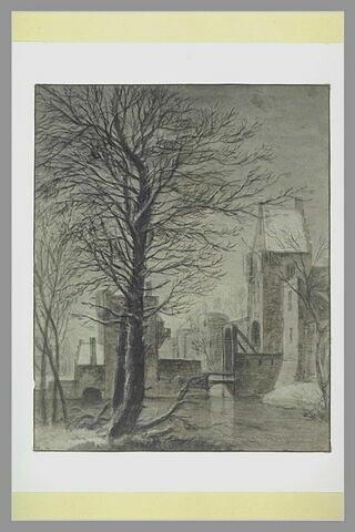 Vue de la porte dite Witte-Vrouwen-Poort à Utrecht, en hiver
