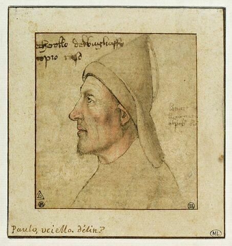Tête d'homme, vue de profil vers la gauche, coiffé