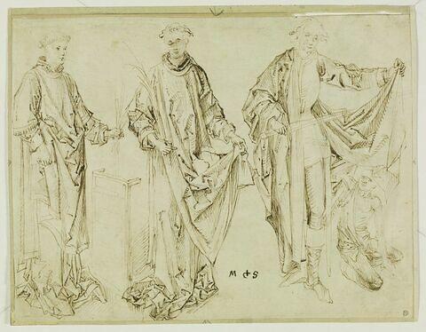Saint Laurent, saint Etienne et saint Martin partageant son manteau