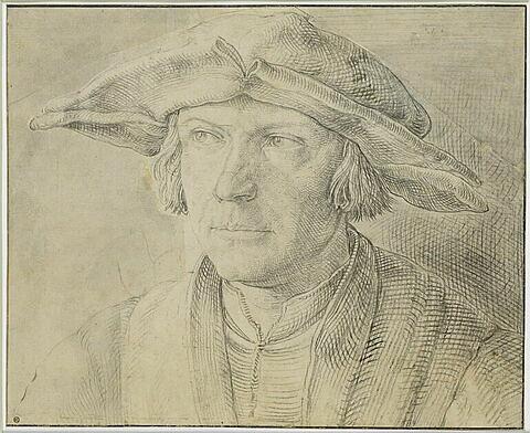 Portrait d'homme, de face, portant un chapeau à larges bords