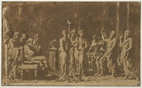 Moïse et Aaron devant Pharaon ou Moïse changeant en serpent la verge d'Aaron