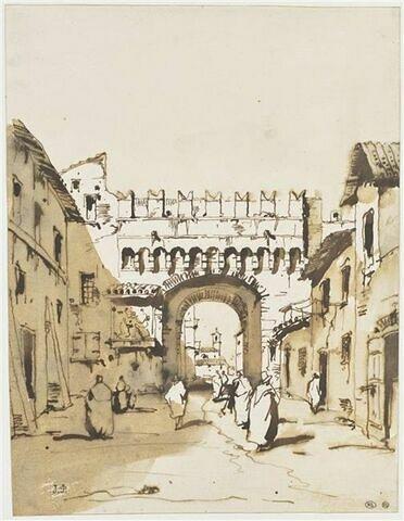 Vue d'une porte crénelée à Venise ou Vérone (?)