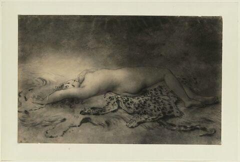 Jeune fille nue, couchée sur une peau de bête